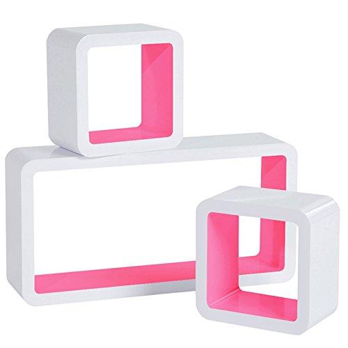 WOLTU RG9229rs Mensole da Muro Mensola a Cubo Scaffale Parete Libreria CD Legno MDF Moderno 3 Pezzi Diametro Diverso Rosa-Bianco