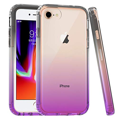Iphone 7 Case for Women Girls Kids, iphone 8 Clear TPU Case, Dual Layer Armor Case Full-Body Transparent Clear Heavy Duty Shock Resistant Hybrid Rugged Cover for Apple iphone 7 iphone 8 - Black Purple