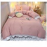 FENGCHENG Juego de cama de 4 piezas de estilo princesa, de algodón, para cama con diseño de corazón y hoja, para casa, dormitorio, color rosa, juego de sábanas de 3 piezas de 1,2 m