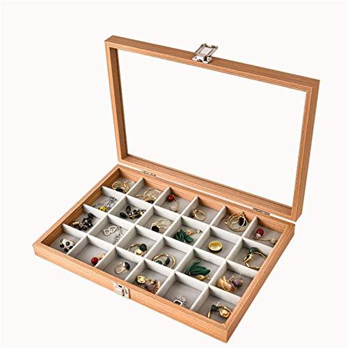 alyf Organizador Joyas 24 cuadrículas Caja de exhibición de Joyas con Vidrio Mujeres Joyería Mostrar Estuche de Viaje Soporte de Almacenamiento expositores joyeria