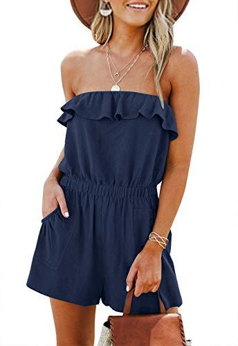 LEANI Women's Summer Off Shoulder Ruffle Rompers Strapless Elastic Waist Short Jumpsuit Navy M