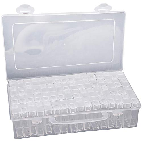 YUNYODA 64 Slots Diamond Painting Box - Diamant Nail Art Zubehör Box Aufbewahrungsbehälter - Perlen Aufbewahrungsbehälter für DIY Handwerk/Schmuck/Strass/Stickerei
