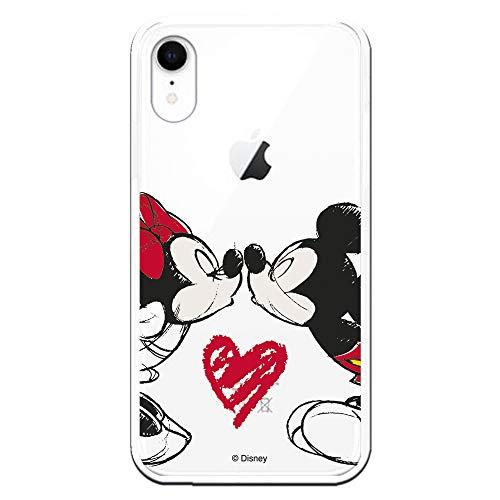 Funda para iPhone XR Oficial de Clásicos Disney Mickey y Minnie Beso para Proteger tu móvil. Carcasa para Apple de Silicona Flexible con Licencia Oficial de Disney.