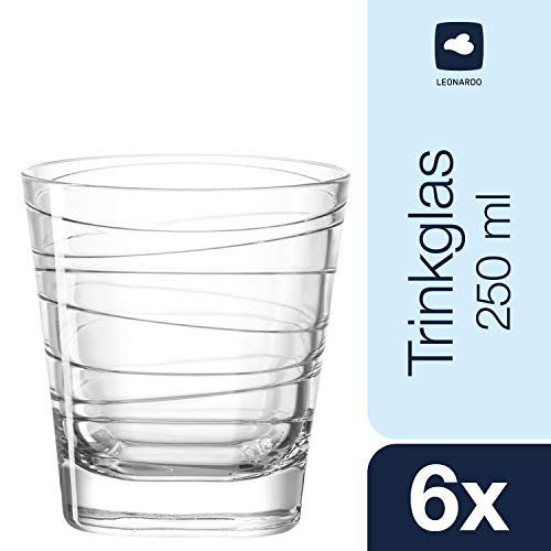 Leonardo Vario Struttura Becher klein, 6-er Set, 250 ml, Trinkglas mit eingepresstem Dekor, spülmaschinenfest, 019449