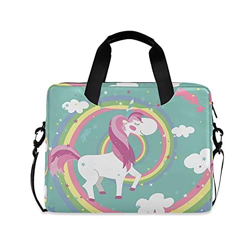 Unicornio Niñas 14 pulgadas Laptop Bag Rainbow Kids 10 Tablet caso de la manga bolsos para la escuela secundaria mujeres 15.6 ordenador bolsa maletín