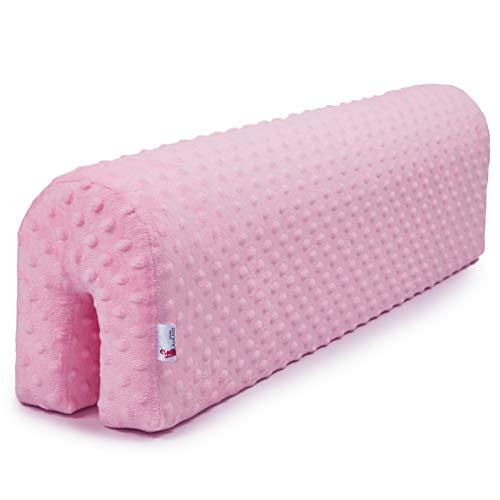 Bettkantenschutz Kinder - Bettumrandung Kinderbetten Schutz für Rausfallgitter Kantenschutz Babybett GRAU Minky (Rosa, 70 cm)