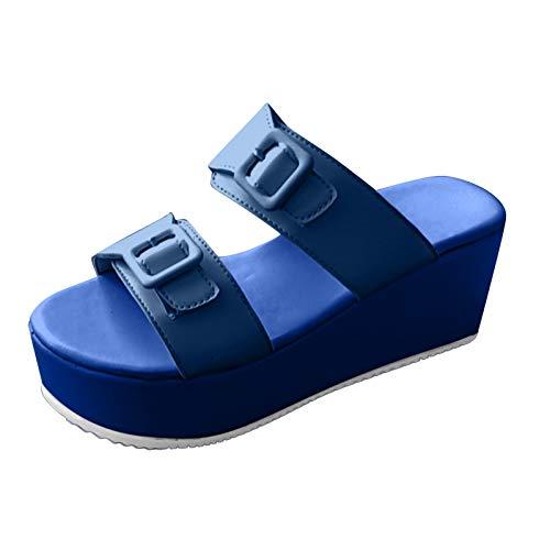 Damen Sandalen Big Buckle Keilsandalen Strandsandale Hausschuhe Slipper Plateauschuhe Wedge Platform Slingback Peep Toe Slip On Sommer Outdoor Sandals Freizeitschuhe(1-Blau/Blue,42.5)