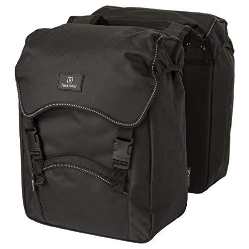 FastRider Unibag Traffic - Borsa doppia per portapacchi, 28 l, impermeabile, riflettente, 100% poliestere riciclato, colore: Nero