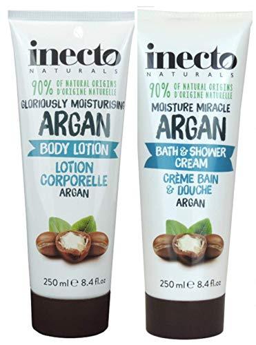 Inecto Naturals Argan Bodylotion 250ml + Bad & Dusche Creme 250ml - 90% Natürlich & Nicht Getestet auf Tieren Vegan Freundlich