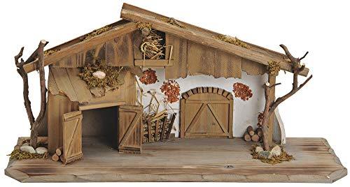matches21 Große Krippe Weihnachtskrippe Stall Holz/Echtholz alpenländisch braun/weiß 60x20x27 cm liebevolle Details