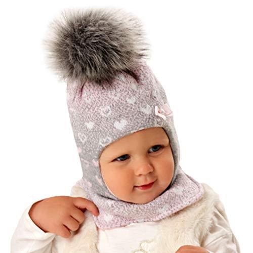 Generisch AJS Baby Mädchen Mütze gefüttert Wintermütze Schlupfmütze Sturmmütze Kindermütze Babymütze Kunstfellbommel Bommel mit Wolle Farbe Grau - Rosa