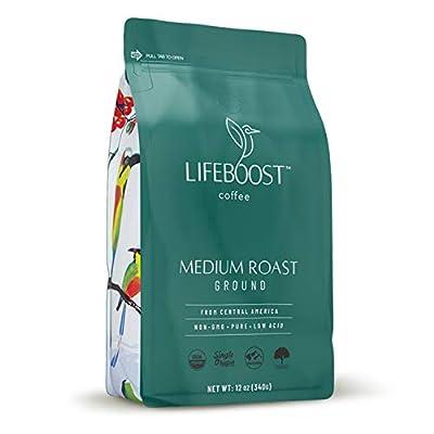 Lifeboost Coffee Medium Roast Ground Coffee - Low Acid Single Origin USDA Organic Coffee - Non-GMO Ground Coffee Beans Dark Roast Third Party Tested For Mycotoxins & Pesticides - 12 Ounces