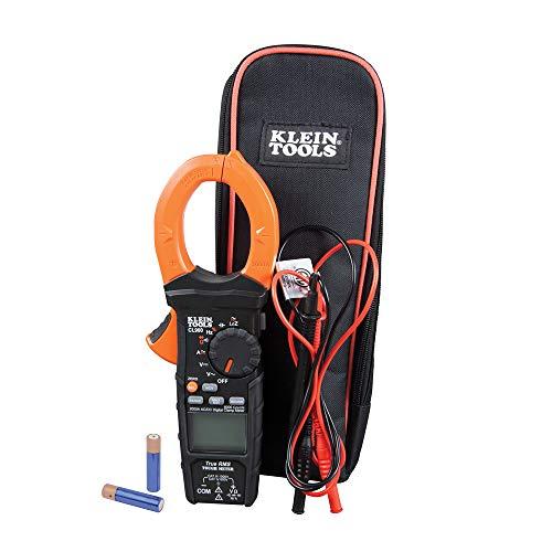 KLEIN TOOLS CL900 Digitales Zangenmessgerät, misst Strom, Spannung, Widerstand, Kontinuität, Frequenz und mehr, 1000 V, Schwarz mit oranger Klemme