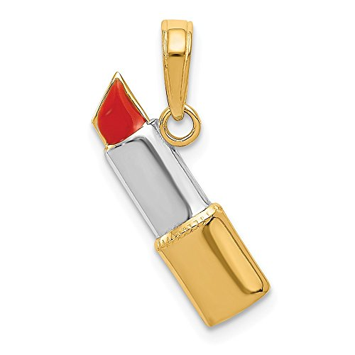 14k Yellow Gold Enameled Lipstick Pendant Charm Necklace Fine Jewellery For Women Gifts For Her