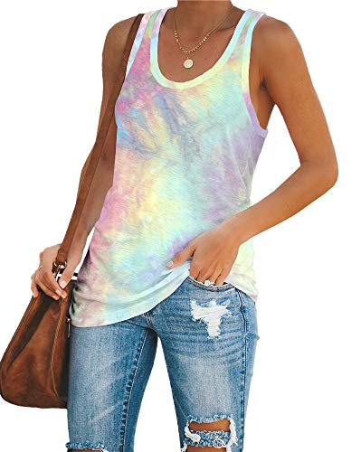 Imily Bela Womens Tie Dye Workout Tank Tops Racerback Yoga Basic Summer Casual Tee Shirt Rust