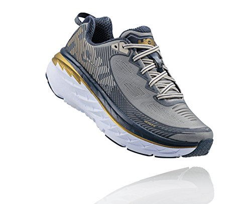 Hoka One One Mens Bondi 5 Running Shoe, Cool Gray / Midnight Navy - 9.5 D(M) US