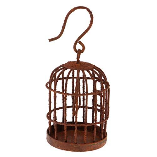 FLAMEER 1: 6 Puppenhaus Garten Mini Vogelkäfig Vogelhaus Mit Aufhänger aus Legierung - 4x3x3 cm