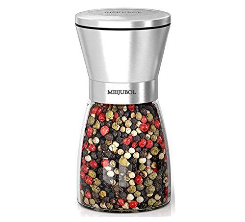 """MEIJUBOL Salz und Pfeffermühle (5.5\""""x 2.5\"""") mit Einstellbarer Keramikmühle und Edelstahlmühle für Gewürze Pfeffer Salz und Chili"""