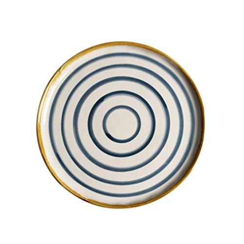 XIUXIU Japonais Bleu Et Blanc Plat À La Maison Assiette De Sushi Simple Rond Plat Occidental En Céramique De Haute Qualité Peint À La Main En Céramique (Color : Blanc)