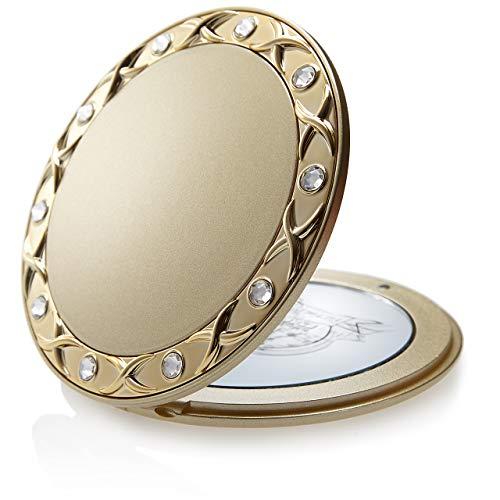 Make Up Taschenspiegel Swarovski Steine: Gold, zweiseitig, normal und 10-fache Vergrößerung - Makeup Spiegel 8,5 cm, runder Klappspiegel als Handspiegel von Fantasia