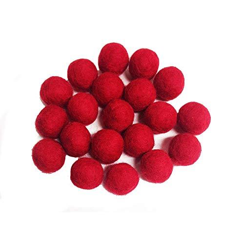 Yarn Place Felt Wool Felted Balls (20 mm, Red) 100pcs