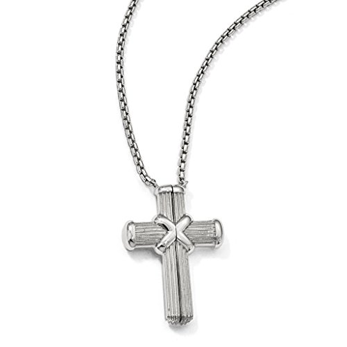 Venture Petra Azar Collection 925 Sterling Silver Rhodium-Plated Polished & Textured Magnetic Cross Necklace 26'