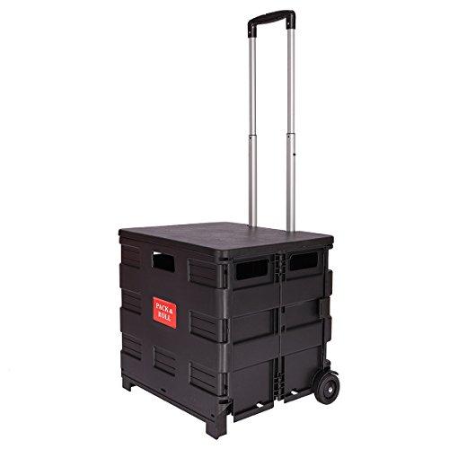 DXP Carretilla de las compras del cajón plegable hasta 35 kg contenedor con ruedas (negro con tapa)