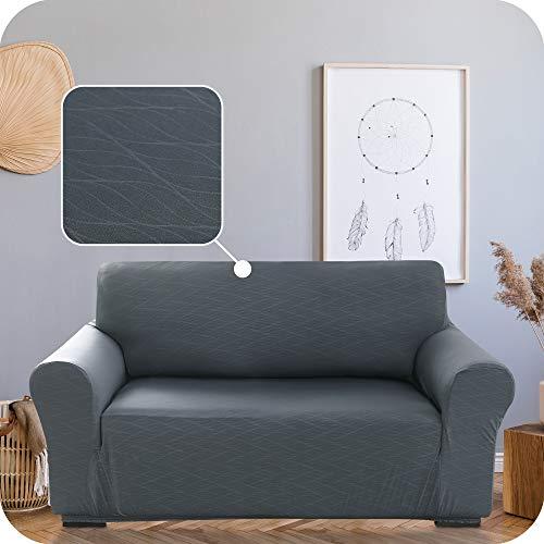 Umi Amazon Brand Sofabezug Geprägt Sofa Überzug SofaüberwurfCouchhusse Stretch mit Wellenmuster 152x83x89 Grau 2-Sitzer
