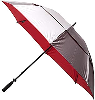 CLIFTON UMBRELLAS Silver Coated; Red Under Windpro Windproof Golf Umbrella, Silver and Red, One Size
