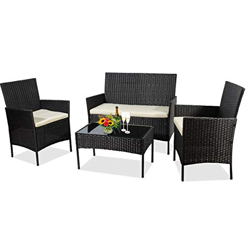 June Win 4 Pieces Outdoor Patio Furniture Sets,Garden Wicker Rattan Chair,Patio Furniture Set with with Glass Coffee Table and Comfortable Cotton Cushions for Balcony, Garden (Cool Black)