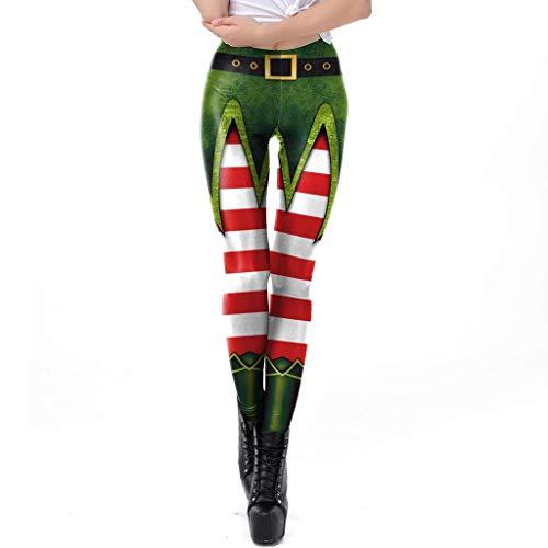 Iusun Women's High Waist Yoga Christmas Print Yoga Pants Xmas Trousers for Workout Running Sport Fitness