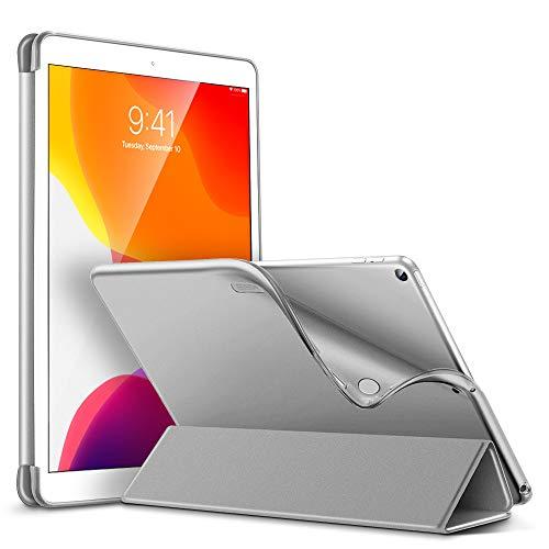 ESR TPU Hülle Kompatibel mit iPad 10.2 2019 Hüllen für iPad 7. Generation - Smart Schutzhülle mit weicher Rückseite [Auto Schlaf/Wach-Funktion & Ansichts-/Tippmodus] für iPad 10,2 Zoll - Silber