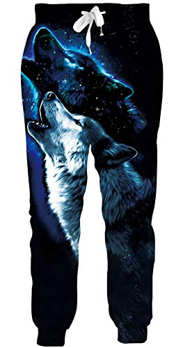 ALISISTER Unisex Jogginghose Personalisiertes Galaxis Wolf Rauchen Design Hose Männer Frauen Lässige Sweatpants Sporttrainingshose mit Taschen XL
