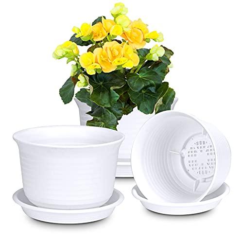 Blumentopf, Pflanztöpfe Kunststoff Übertopf kleine Blumentöpfe mit Untersetzer für Blumen und Pflanzen Pflanzkübel Pflanztopf Anzuchttopf Durchmesser 15cm (3 Stück, Weiß)