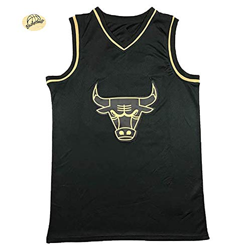 # 23 Michael Jordan Schwarz-Gold- und Weißgold-Version Basketballtrikot, Chicago Bulls Unisex-Basketballuniform, Youth Large Size Breathable Sweatshirt-Black-XXL