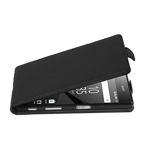Cadorabo Hülle für Sony Xperia Z5 COMPACT - Hülle in Oxid SCHWARZ – Handyhülle aus Strukturiertem Kunstleder im Flip Design - Hülle Cover Schutzhülle Etui Tasche