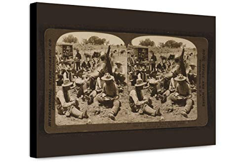 ClassicPix Canvas Print 12x18: Cowboys at Dinner - Scene at Noon Hour in A Typical Cowboy Camp of.