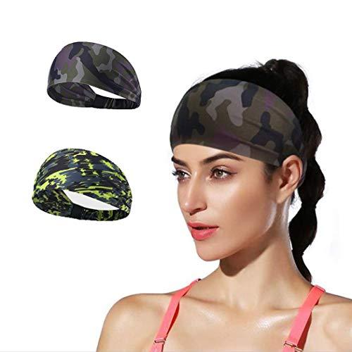 Brishow Fitness Hoofdbanden voor Vrouwen Mannen Workout Sweatbands Elastische Sport Haarband voor Yoga, Wielrennen, Hardlopen, Stretchy Antislip Moisture Wicking Haaraccessoires,2 Pack