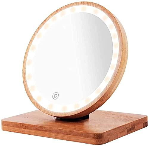 YQS Espejo de Baño Espejo de Maquillaje de Tocador de 6 Pulgadas con Soporte de Bambú Natural, Espejo de Maquillaje de Viaje Led con Luz Regulable de 3 Colores, Espejo de Maquillaje de Baño de Rotaci