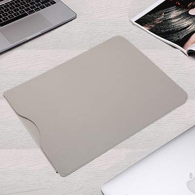 XXIUYHU Bolso de Cuero para computadora portátil de Cuero de la PU para Macbook Air 13 Funda 11 12 15 Touch Bar Notebook para Xiaomi Mi 13.3 15.6 Surface Pro 4 5 6 Cubierta Surface Laptop 13.5 Gris