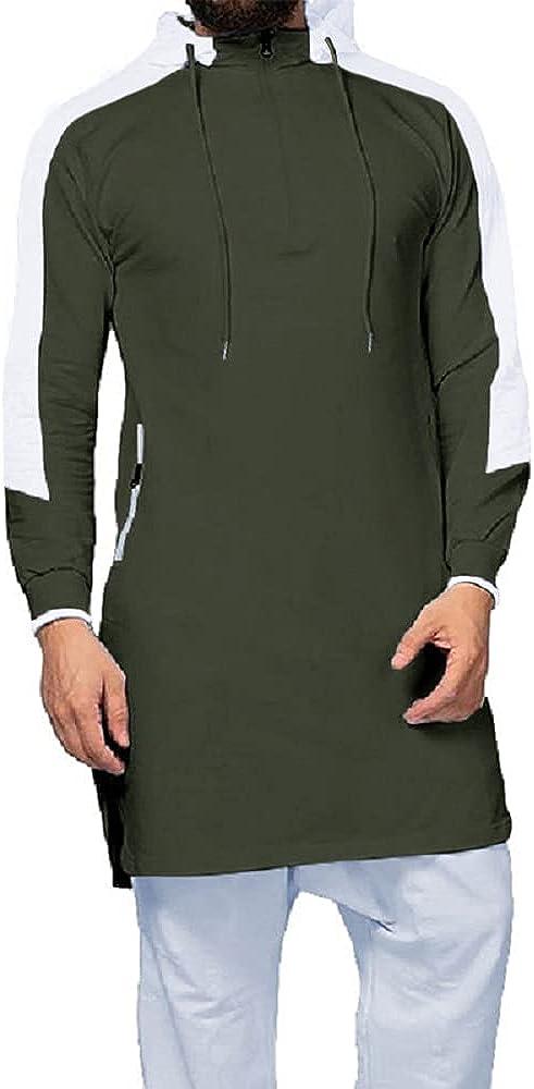 Juybenmu Men Cotton Hooded Kaftan Tops Male Long Pullover Sweatshirt Muslim Abaya Islamic Clothing with Quarter Zipper