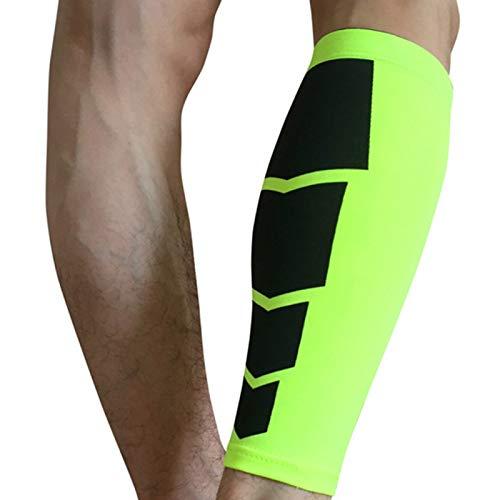 puran 1 x Sport-Beinbandage, Wadenstütze, Stretch, Unisex, Kompressions-Beinschutz, Grün, Größe L