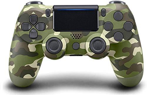 Mando Inalámbrico para PS4,Mando para PS4/Pro/Slim/PC con Touch Pad y Conector de Audio Doble vibración Antideslizante Wireless Bluetooth Gamepad Controlador Inalámbrico (Verde camuflaje)