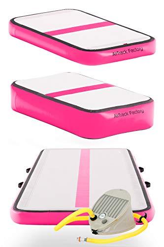 AirTrack Factory 3x1 Aufblasbares Trainingsset Airfloor Turnmatte Tumbling Trainingsmatte Sportmatte Gymnatikmatte inkl. Fußpumpe (Pink)