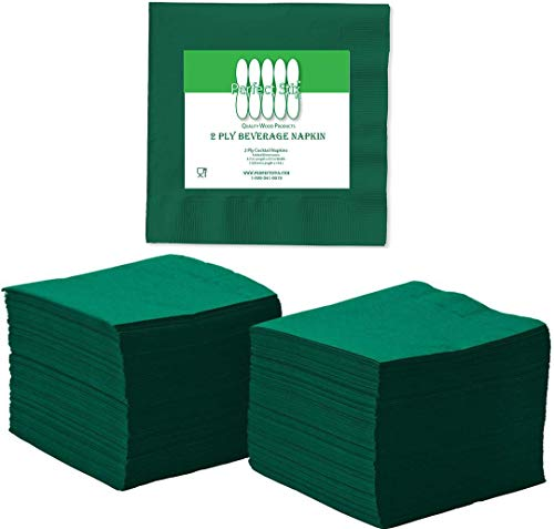 Perfectware 2 Ply Hunter Green Beverage Napkins- Pack of 250ct