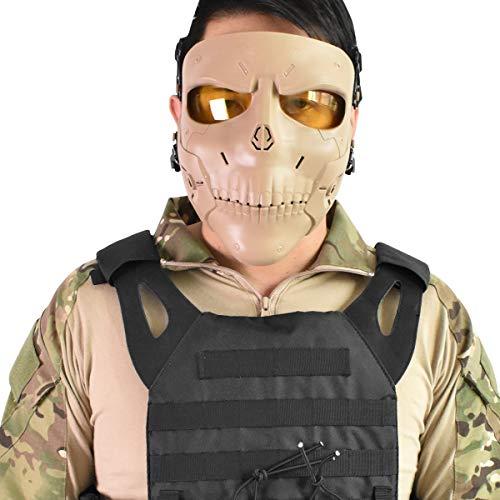 Wwman Paintball Máscara, Máscara CS Táctica Sólida de Protección Completa para la Cara Completa con Lentes (WWZL2-TAN-Y)