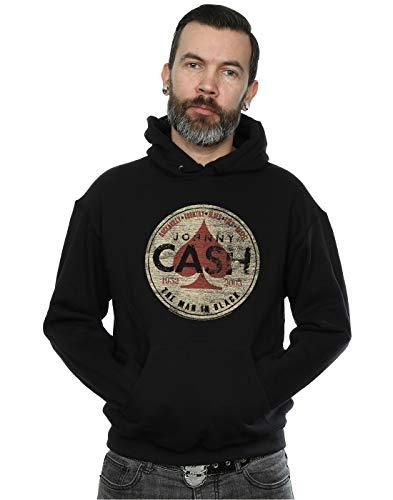 Johnny Cash Men's Man in Black Circle Hoodie Large Black