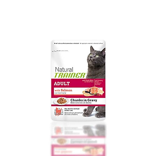 Natural Trainer, Mangime umido Gatto, Busta Adult Salmone Gr. 85