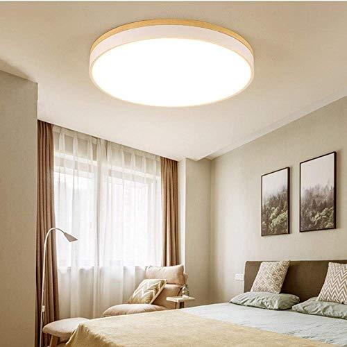 Lámpara de araña decorativa, de techo, 30 cm, redonda, de madera, lámparas europeas y nórdicas, luces cálidas, luces de dormitorio, salón, lámparas LED de techo de tres colores