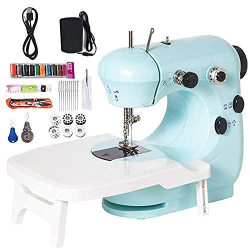Máquina de coser para principiantes, cargador USB de doble velocidad, mini máquina de coser con mesa de extensión, con hilo de color, cortador de hilo, cinta 2 enhebradores, 10 agujas (USB)